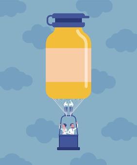 Frasco de medicamento em forma de balão de ar quente com médicos