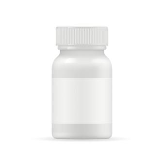 Frasco de medicamento realista. comprimidos ou drogas brancos embalagem frasco isolado no fundo branco
