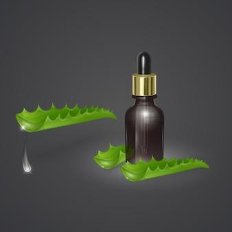 Frasco de óleo de aloe vera realista em fundo escuro