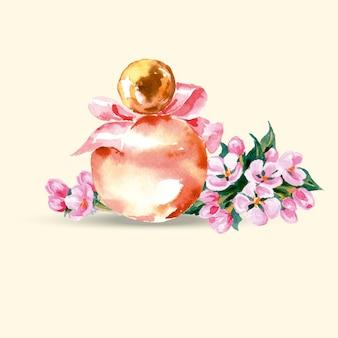 Frasco de perfume bonito ilustração em vetor aquarela desenhada à mão