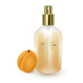 Frasco de perfume com maquete de damasco