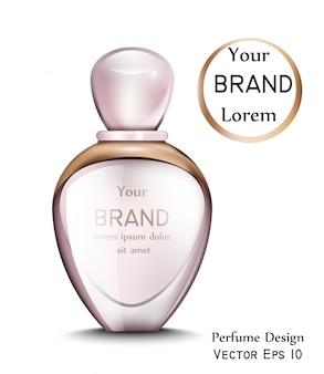 Frasco de perfume com moldura dourada