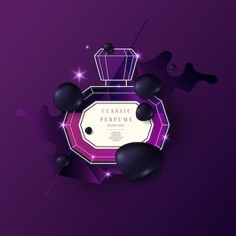 Frasco de perfume com padrão geométrico. cartaz moderno brilhante para publicidade e venda de fragrâncias. ilustração vetorial