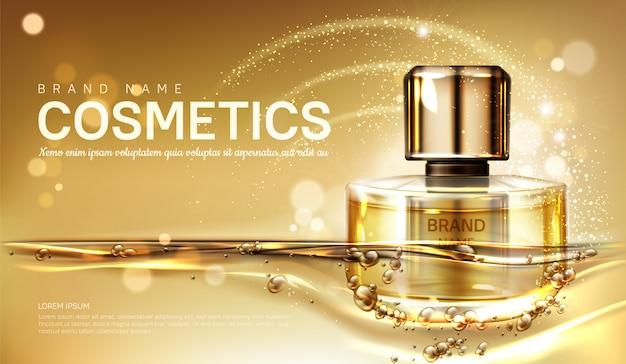Frasco de perfume de óleo com líquido dourado