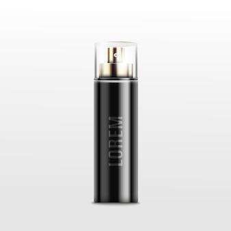 Frasco de perfume em spray preto com tampa de vidro - realista