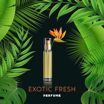 Frasco de perfume fresco exótico em fundo escuro com anúncio realista de grandes folhas verdes