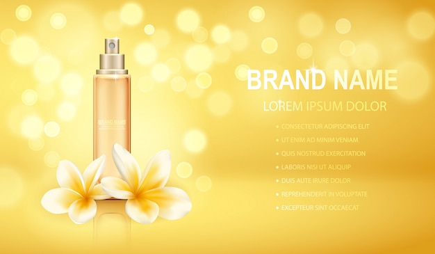 Frasco de perfume realista amarelo isolado sobre o fundo de efeitos cintilantes com flores de plumeria.