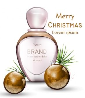 Frasco de perfume realista com enfeites de aquarela dourados