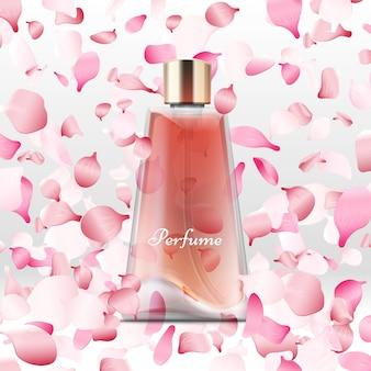 Frasco de perfume realista e voando pétalas de rosa