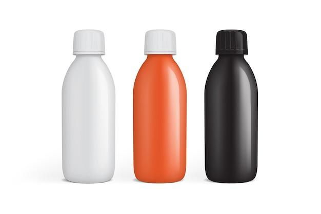 Frasco de plástico branco laranja e preto para medicamentos isolado no fundo branco