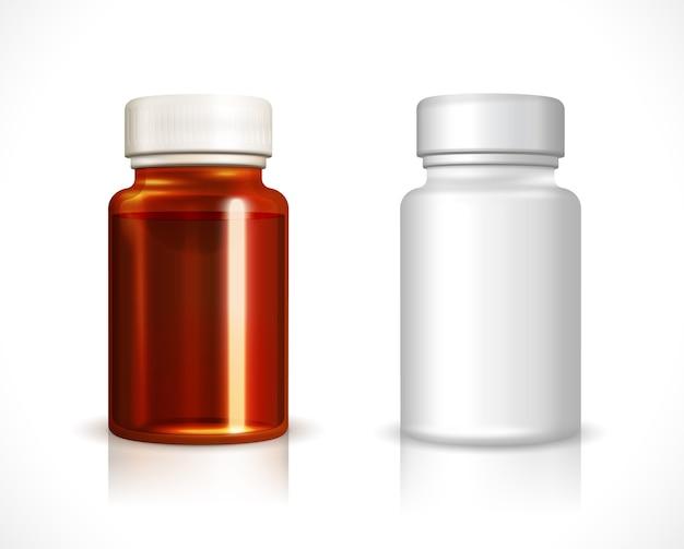 Frasco de plástico e vidro em branco. recipiente limpo, remédio líquido
