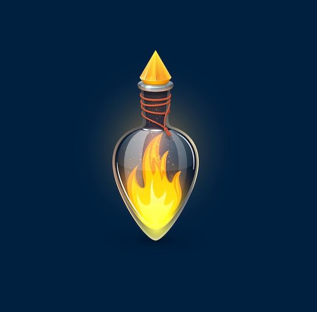 Frasco de poção de vidro de feitiçaria com fogo aceso