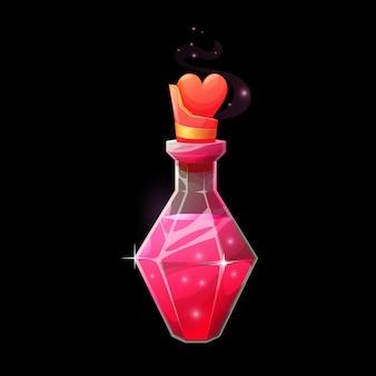 Frasco de poção do amor, elixir mágico em frasco. feriado de halloween