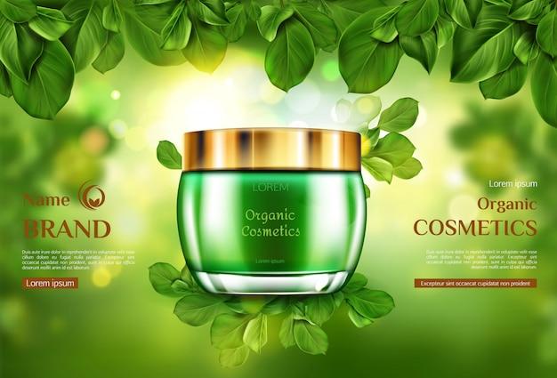 Frasco de produto de cosméticos orgânicos