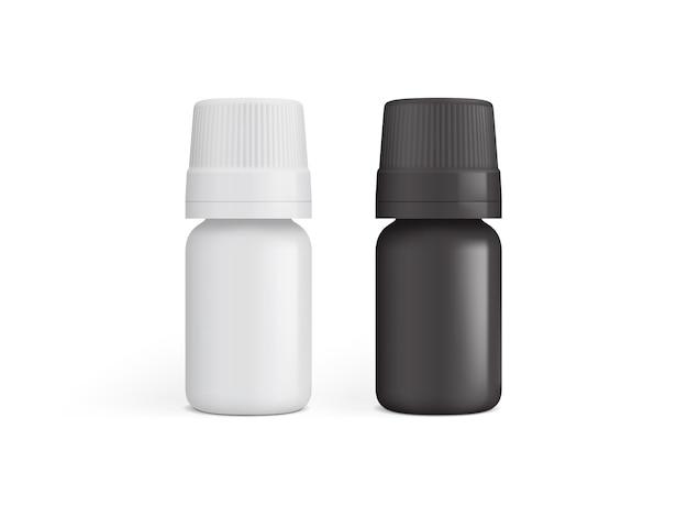 Frasco de remédio de plástico branco e preto isolado no fundo branco