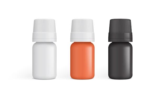 Frasco de remédio de plástico branco, laranja e preto isolado no fundo branco