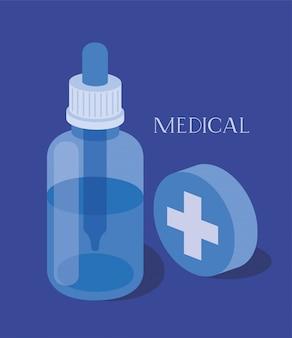 Frasco de remédio drogas conta-gotas