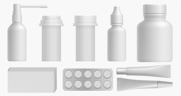 Frasco de remédios. embalagem branca farmacêutica com frasco plástico médico, caixa de comprimidos e recipiente de vitamina. modelo de pacote cosmético medicamento e saúde definido nas costas transparente.