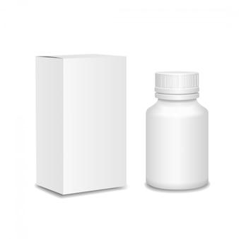 Frasco de remédios. garrafa de plástico branca, pacote de papelão