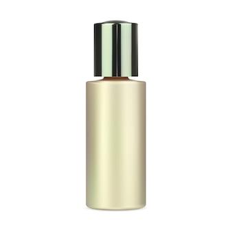 Frasco de removedor de maquiagem para água, recipiente de plástico dourado maquete de frasco de soro de colágeno