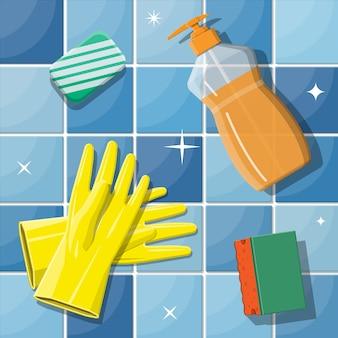Frasco de sabão esponja detergente e luvas de borracha