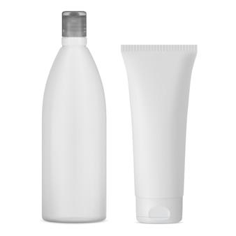 Frasco de shampoo branco tubo de creme cosmético