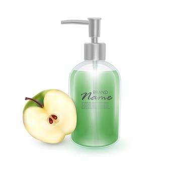 Frasco de shampoo ou produto cosmético de sabonete líquido