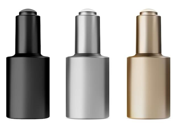 Frasco de soro com conta-gotas. frasco de óleo para tratamento facial. frasco conta-gotas preto, dourado e prata
