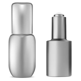 Frasco de soro em branco. frasco conta-gotas cosmético.