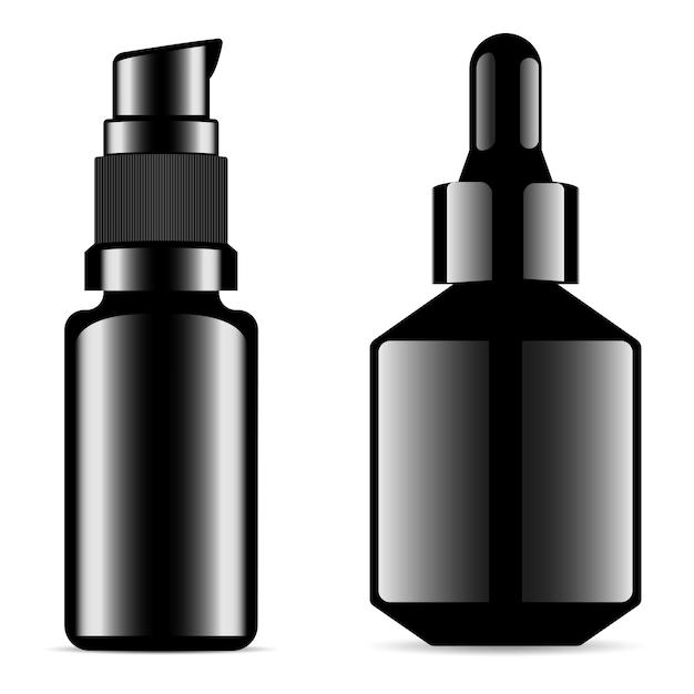 Frasco de soro frasco conta-gotas preto, frasco de essência