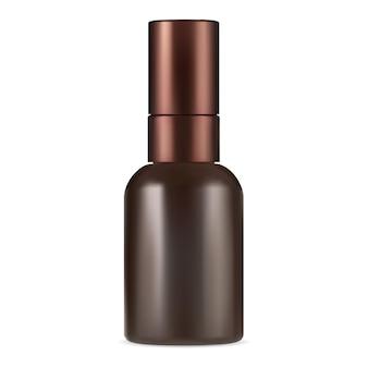 Frasco de soro marrom. maquete do recipiente de colágeno âmbar. frasco cosmético de óleo essencial com pipeta. projeto do vetor do frasco conta-gotas para perfume líquido. simulação de frasco cosmético para pele