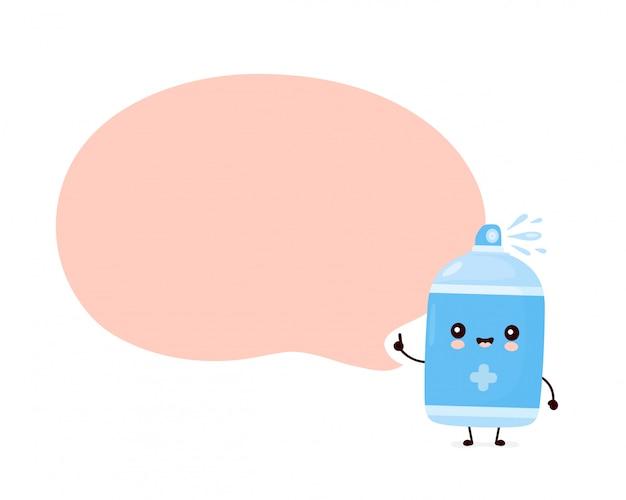 Frasco de spray anti-séptico sorridente feliz bonito com bolha do discurso. desenho animado personagem ilustração ícone do design. isolado no fundo branco