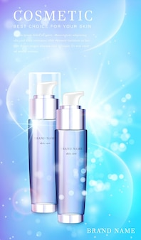 Frasco de spray cosmético de vidro transparente com banner de modelo de fundo cintilante brilhante.
