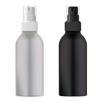 Frasco de spray cosmético. embalagem em preto e branco.
