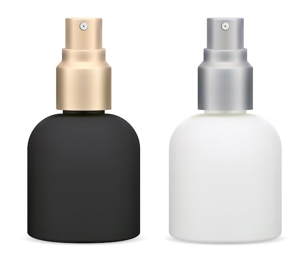 Frasco de spray cosmético produto de toner hidratante para a pele, embalagem branca e preta