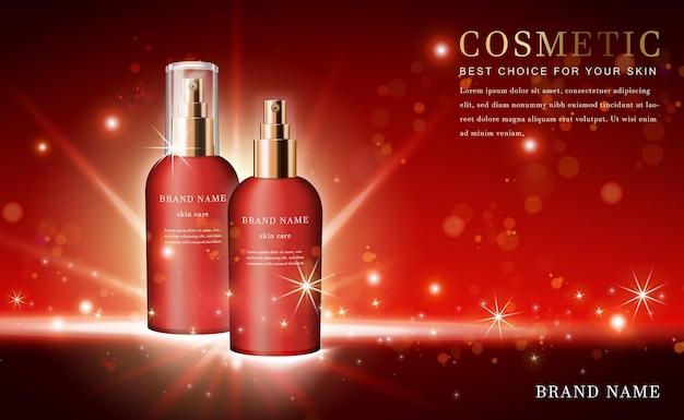 Frasco de spray de essência de produto cosmético 3d com vermelho brilhante