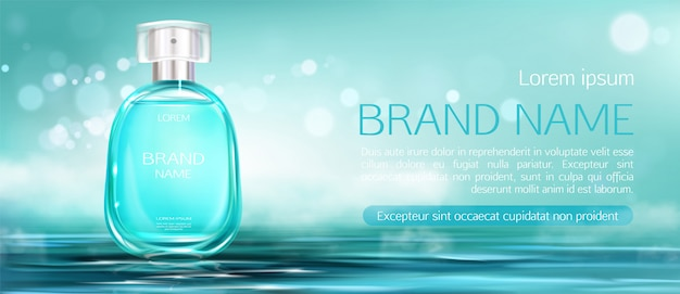 Frasco de spray de perfume mock up banner