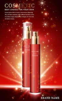 Frasco de spray de produto cosmético 3d com vermelho brilhante