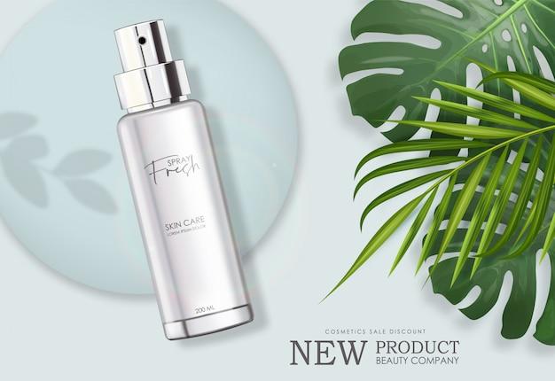 Frasco de spray de verão realista isolado recipiente, perfume elegante design elegante, embalagem com folha de palmeira