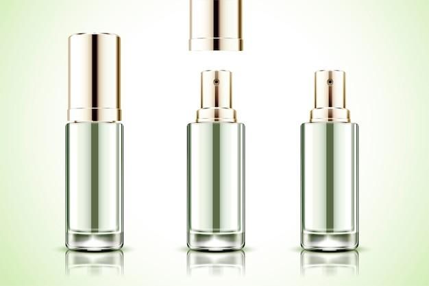Frasco de spray em branco sobre fundo verde claro