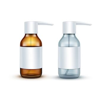Frasco de spray médico de vidro em branco de vetor isolado