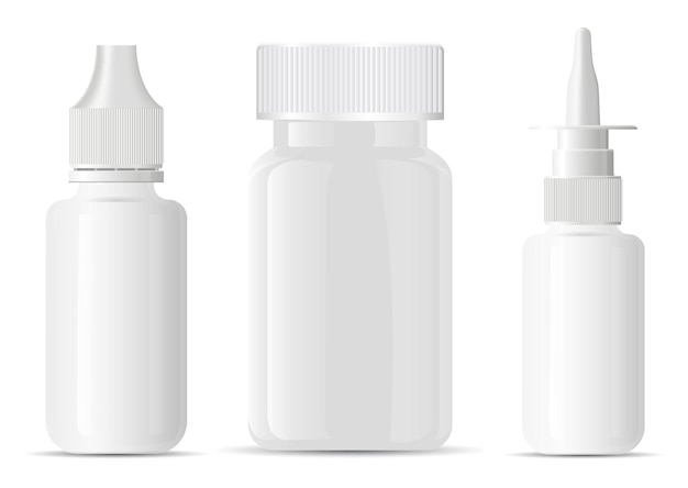 Frasco de spray nasal. frasco de comprimidos em branco. frasco de aerossol médico, modelo de distribuidor de pulverizador de nariz. conta-gotas para os olhos, pequena dose. vitamina de suplemento de comprimido de medicamento vazio