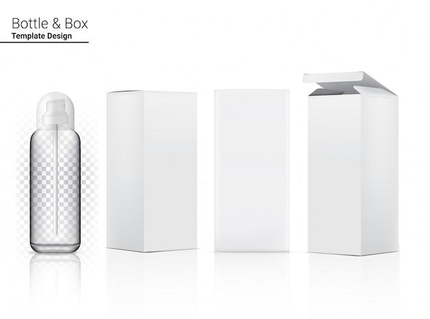 Frasco de spray transparente brilhante em branco realista cosméticos e caixa 3d para clareamento da pele e envelhecimento anti-rugas.