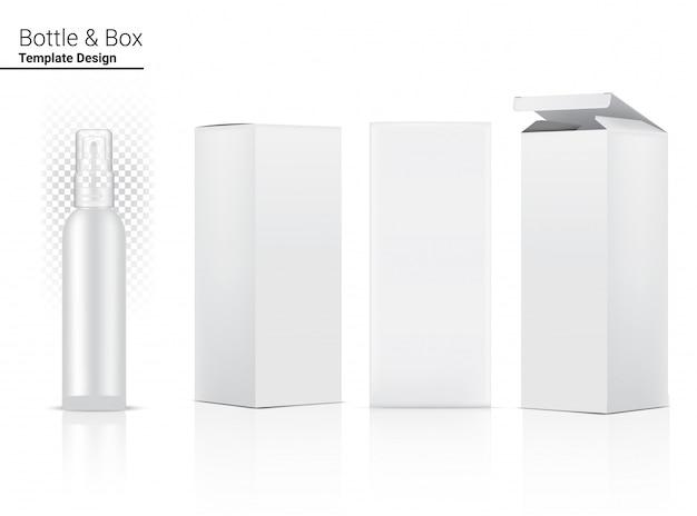 Frasco de spray transparente brilhante em branco realista cosméticos e caixa 3d para embalagem de anti-rugas de clareamento da pele e envelhecimento.