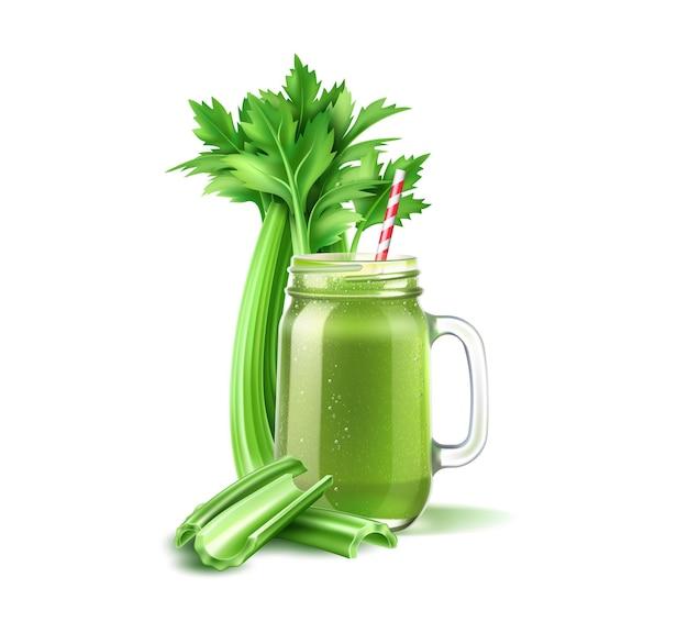 Frasco de suco realista com haste de aipo mistura de vegetais verdes em frasco de vidro coquetel detox