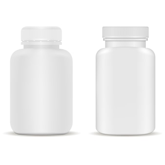Frasco de suplemento. frasco de cápsula de plástico para vitamina