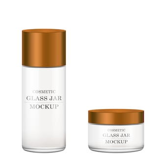 Frasco de vidro branco realista com tampa de plástico de bronze para cosméticos