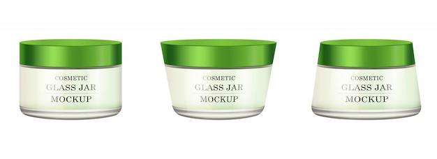 Frasco de vidro branco realista com tampa de plástico verde para cosméticos