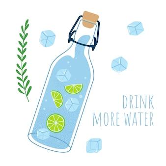 Frasco de vidro com água lima e gelo beba mais água conceito ilustração vetorial