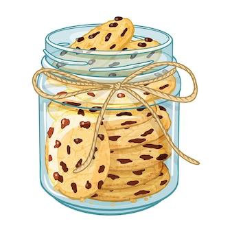 Frasco de vidro com biscoito e chocolate.